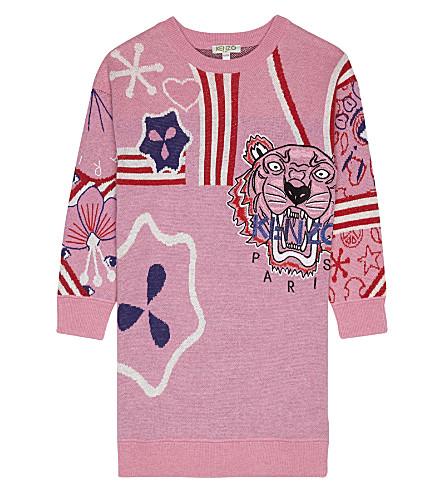 KENZO Symbol print cotton dress 4-16 years (Pink
