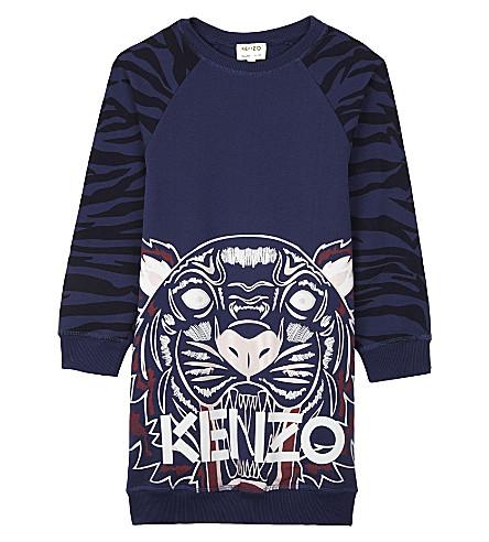KENZO Tiger print cotton long-sleeved dress 4-16 years (Navy