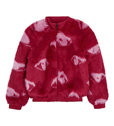 KENZO Eye-print faux-fur coat 4-16 years (Red