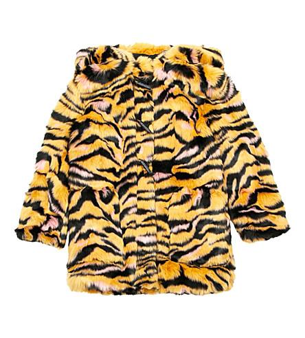 KENZO Tiger stripe faux-fur coat 4-16 years