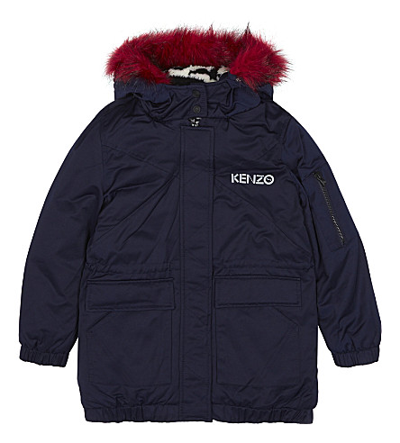 KENZO Faux-fur lined cotton-blend hooded coat 4-16 years (Navy