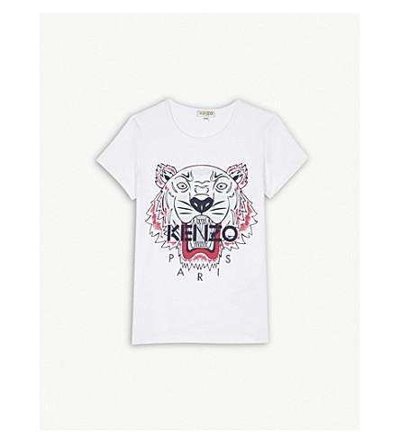 KENZO Tiger print cotton-blend t-shirt 4-16 years (White