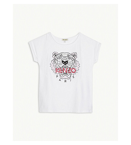 KENZO Embroidered logo cotton-blend t-shirt 4-16 years (White