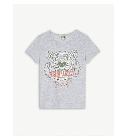 KENZO Tiger logo cotton-blend T-shirt 4-16 years (Grey