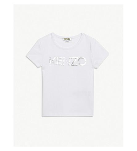 KENZO Metallic logo print cotton T-shirt 4-14 years (White