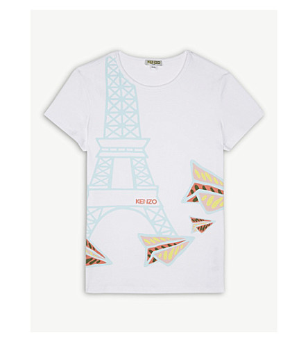 KENZO Eiffel Tower and planes T-shirt 4-16 years (White