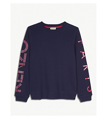 KENZO Logo cotton jumper 4-16 years (Navy