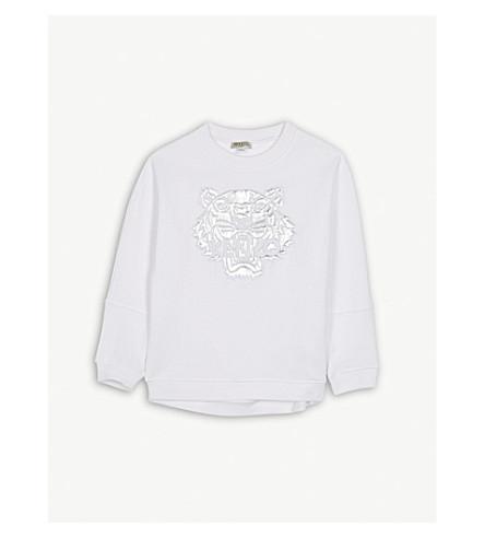 KENZO Metallic tiger cotton-jersey sweatshirt 4-16 years (White