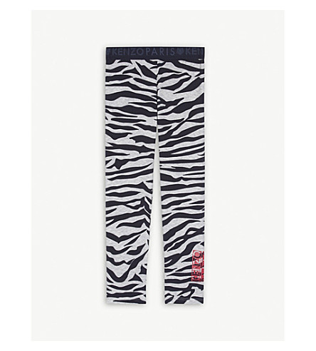 KENZO Tiger print cotton-blend leggings 4-16 years (Grey