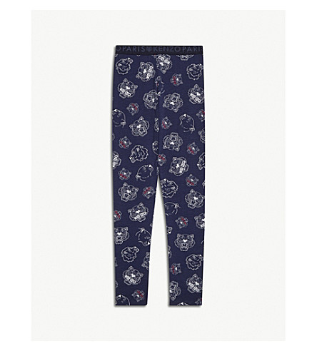 KENZO Tiger print cotton leggings 4-16 years (Navy