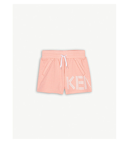 KENZO Logo cotton-blend shorts 4-16 years (Neon+coral