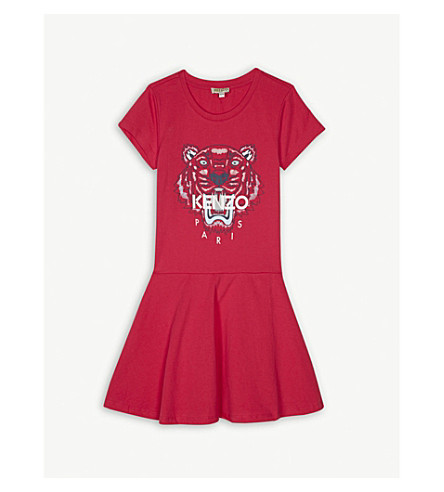KENZO Tiger cotton dress 4-16 years (Fushia