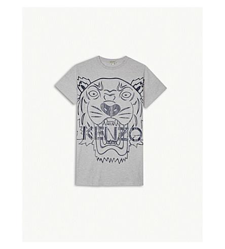 KENZO Tiger print cotton t-shirt dress 4-16 years (Grey