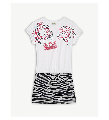 KENZO Tiger & Friends cotton dress 4-16 years (White