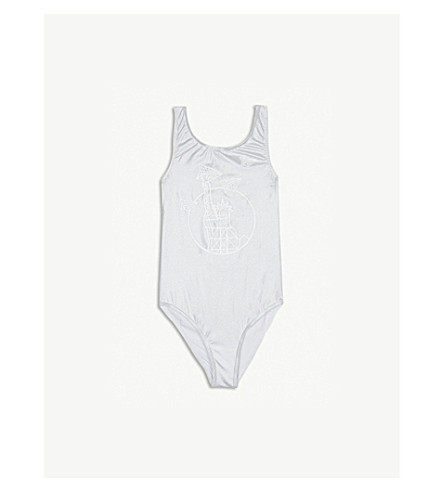 KENZO Liberty print metallic swimsuit 4-16 years (Silver