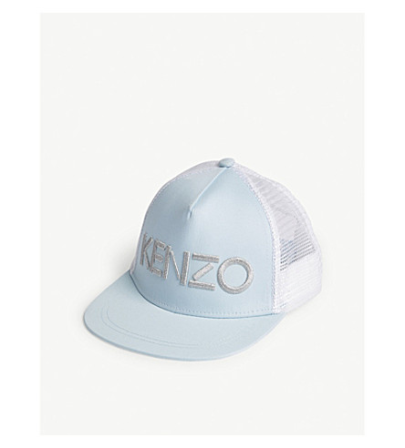 KENZO Metallic logo cotton snapback cap 5-16 years (Sky+blue
