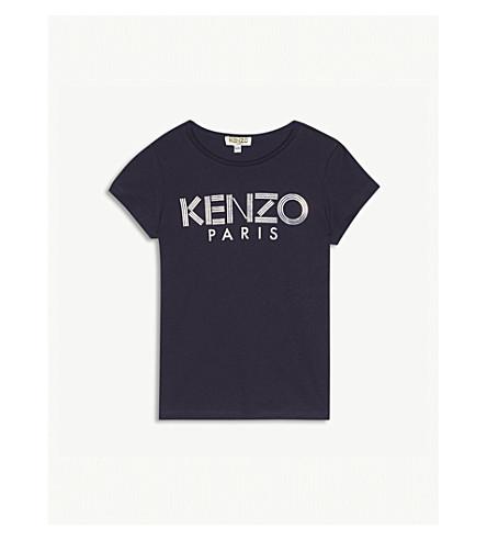 KENZO Metallic logo cotton T-shirt 4-16 years (Navy
