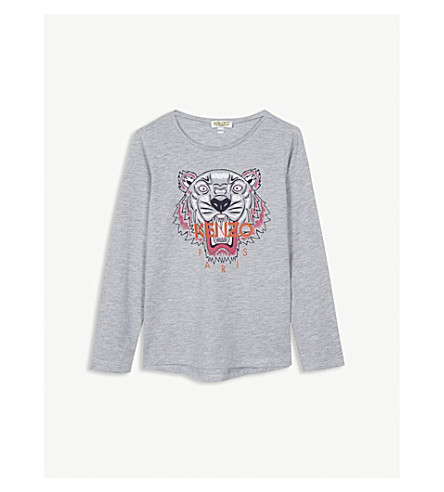 KENZO Tiger print cotton-blend long-sleeved T-shirt 4-16 years (Marl+grey