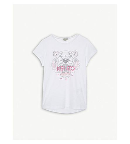 KENZO Tiger cotton T-shirt 4-16 years (Optical+white