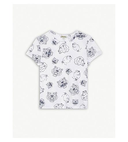 KENZO 老虎标志棉 T 恤 4-16 岁 (光学 + 白色