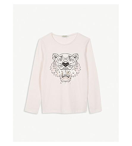 KENZO 虎印花棉混纺长袖 T 恤 4-16 岁 (淡 + 粉红色
