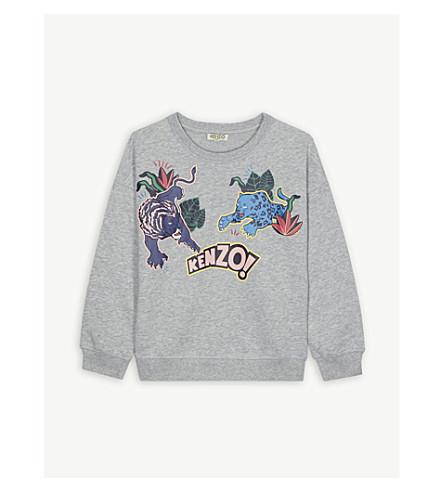 KENZO Jungle print cotton-blend sweatshirt 4-16 years (Marl+grey