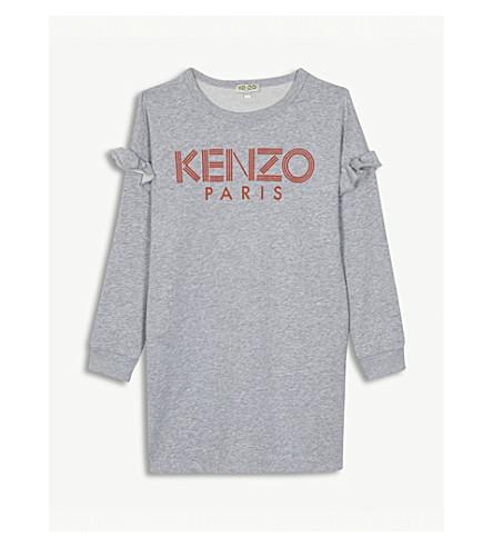 KENZO 标志褶边棉毛衣礼服 8-16 岁 (石灰泥 + 灰色