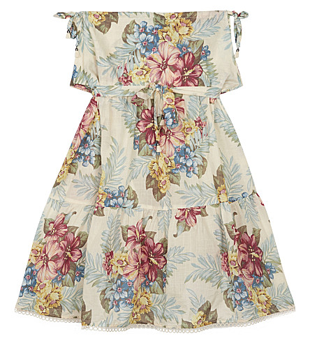 ZIMMERMANN Kali Hibiscus floral cotton dress 4-10 years (Pink+floral