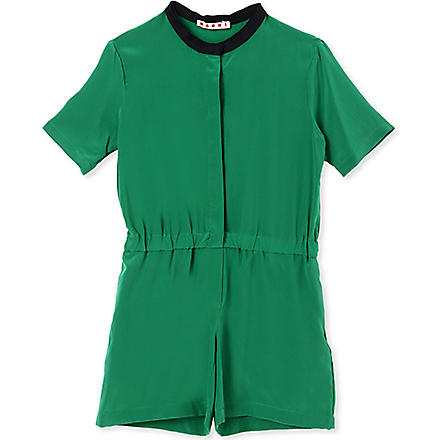 MARNI Contrast neckline playsuit 2-12 years (Green