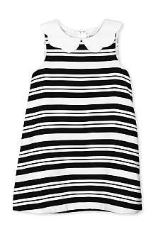 HUCKLEBONES Scalloped collar striped dress 2-10 years