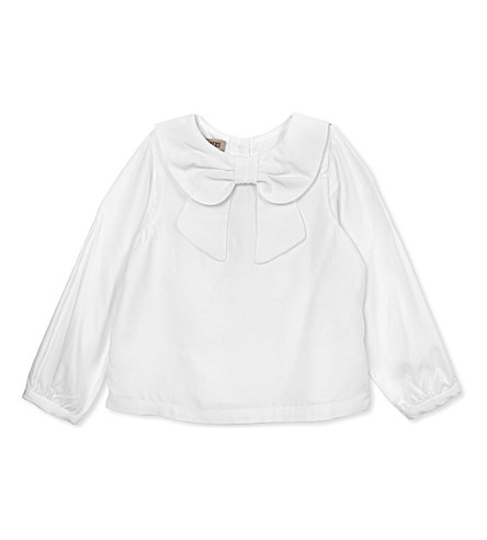 HUCKLEBONES Bow collar blouse 2-10 years (White