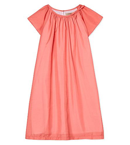 HUCKLEBONES Flutter sleeve dress 2-10 years (Coral