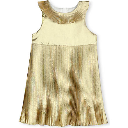 HUCKLEBONES Metallic pleated dress 2-10 years (Gold