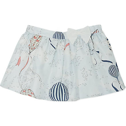 HUCKLEBONES Balloon print silk skirt 2-10 years (Blue