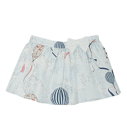 HUCKLEBONES Bow print silk skirt 2-10 years (Blue