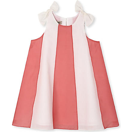 HUCKLEBONES Stripe trapeze dress 2-10 years (Coral & cream