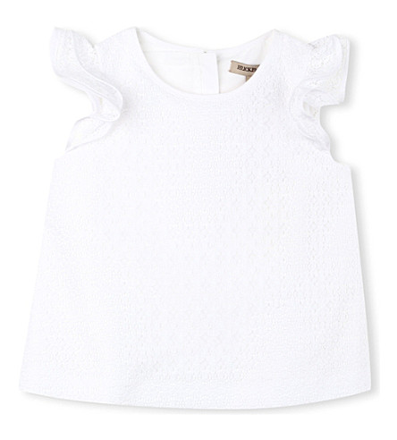 HUCKLEBONES Ruffle-sleeve blouse 2-10 years (White