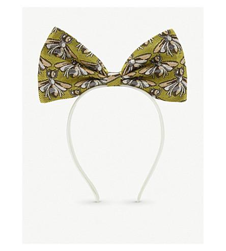 HUCKLEBONES Metallic leaf bow headband (Chartreuse+shimmer