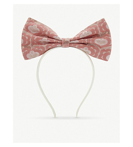 HUCKLEBONES Metallic leaf bow headband (Rose/+rose+gold