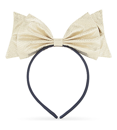 HUCKLEBONES Metallic bow headband (Gold