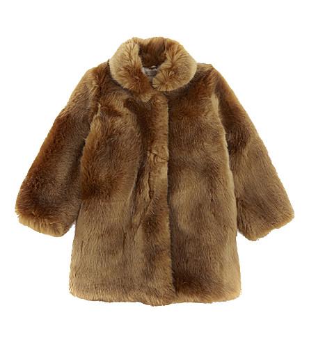 HUCKLEBONES Faux-fur coat 4-10 years (Ginger+bread