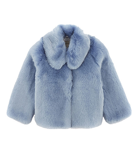 HUCKLEBONES Faux-fur coat 4-10 years (Powder+blue