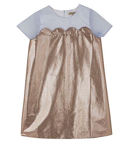 HUCKLEBONES Metallic scalloped shift dress 4-10 years (Rose+gold