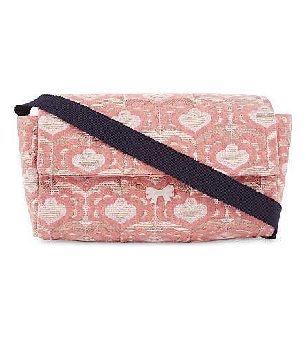 HUCKLEBONES Heart pattern jaquard shoulder bag (Rose/ rose gold