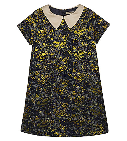 HUCKLEBONES Floral pattern shift dress 4-10 years (Ink/gold