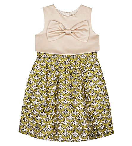 HUCKLEBONES Metallic wasp dress 4-10 years (Chartreuse+shimmer