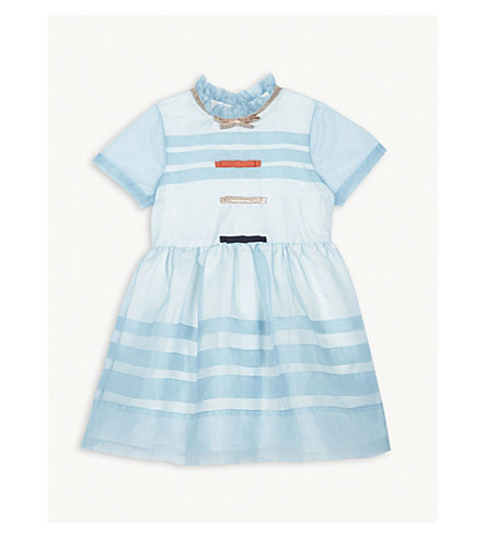HUCKLEBONES Striped organza bodice dress 4-12 years (Duck+egg+blue