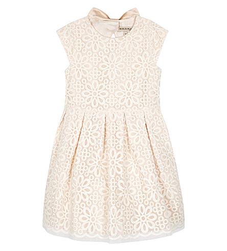 HUCKLEBONES Battenberg lace dress 4-10 years (Blush/cream