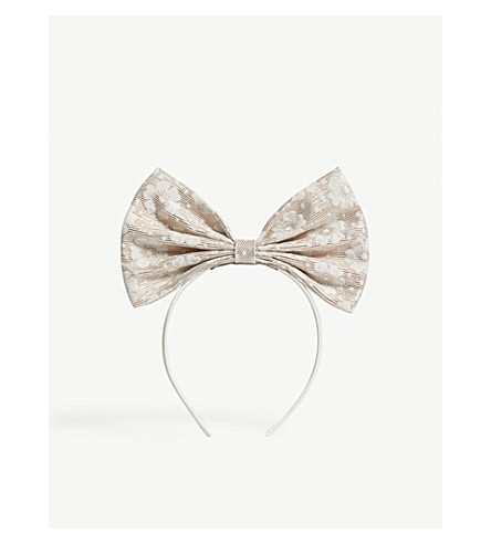 HUCKLEBONES Metallic giant bow hairband (Porcalin/rose