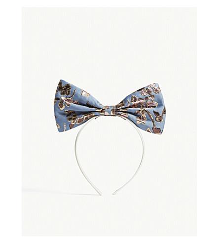 HUCKLEBONES Metallic bow hairband (Cornflower/gold